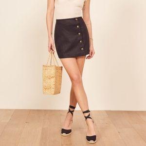 Reformation Candella Button Detail Linen Miniskirt